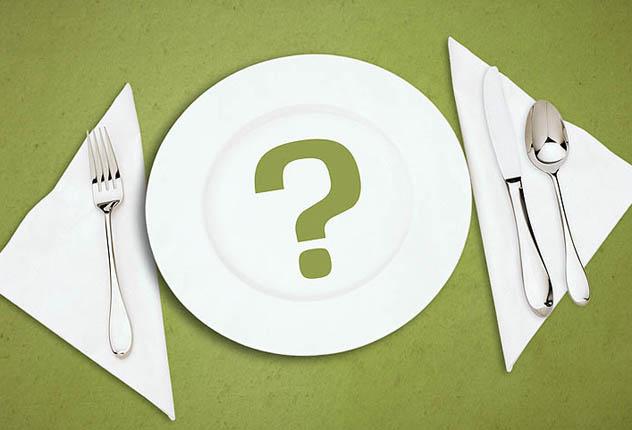 Пустая тарелка с вопросом